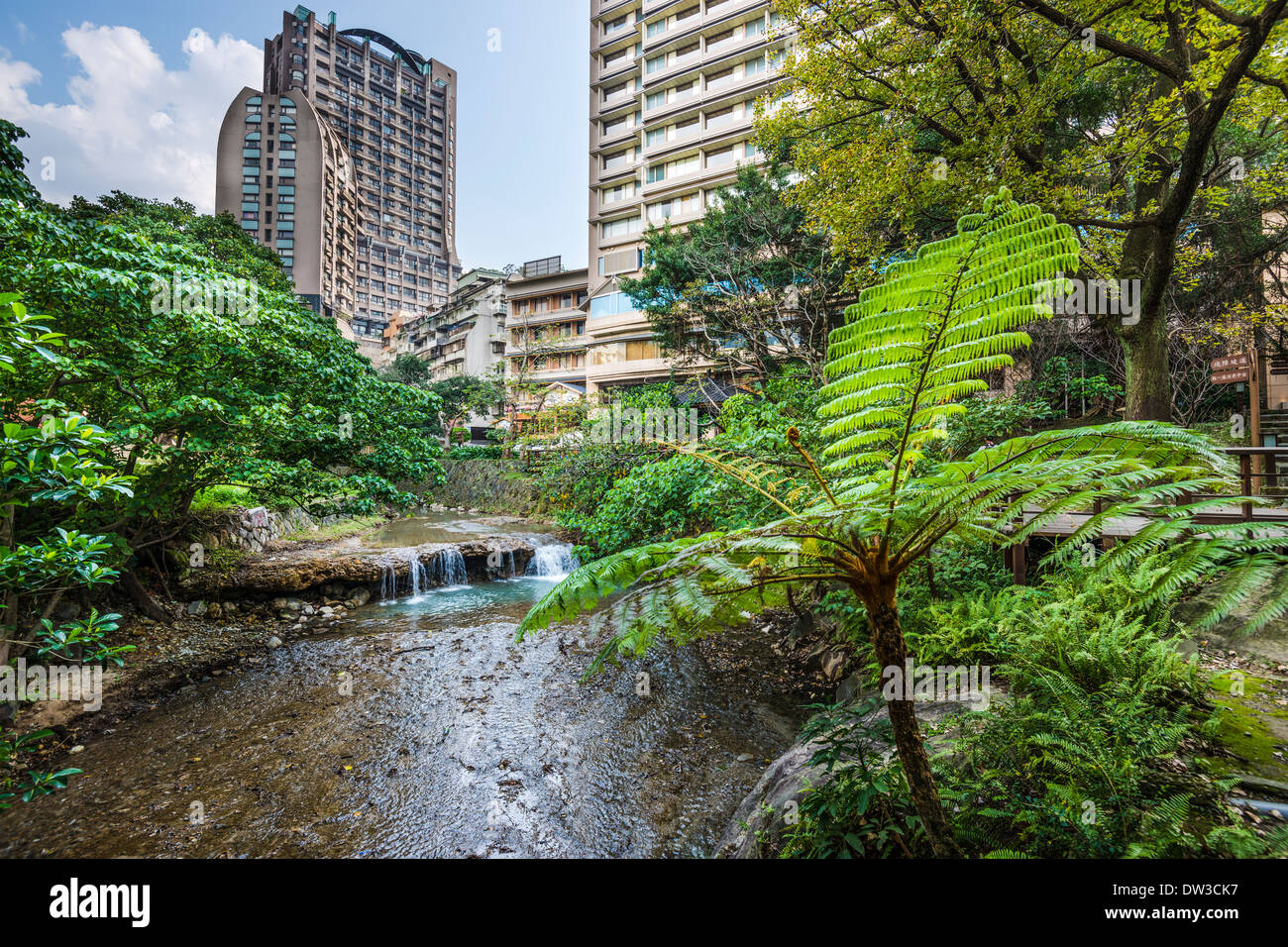 Taipei, Taiwan at Beitou hot springs district. - Stock Image