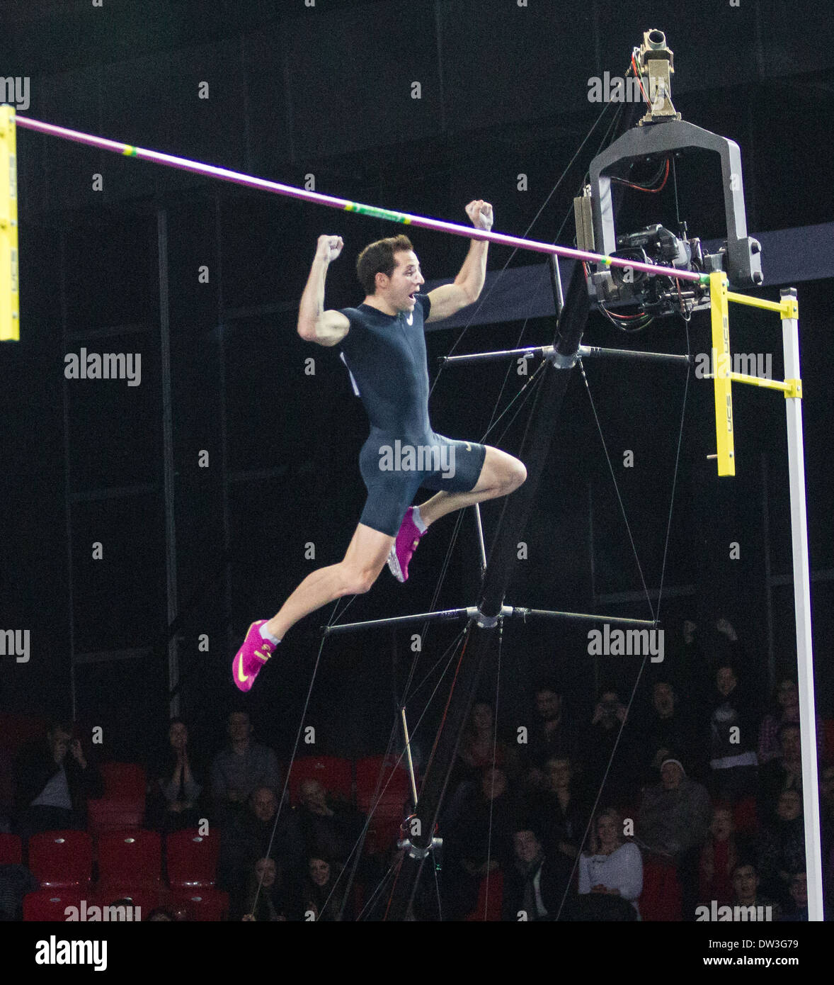 French pole vaulter Renaud Lavillenie set a world record * of 6.16m at the Pole Vault Stars meeting in Donetsk, Ukraine - Stock Image