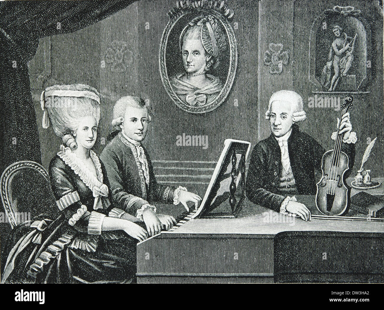 Wolfgang Amadeus Mozart (1756-1791). Composer of the Classical era. Mozart and his family. Engraving. - Stock Image