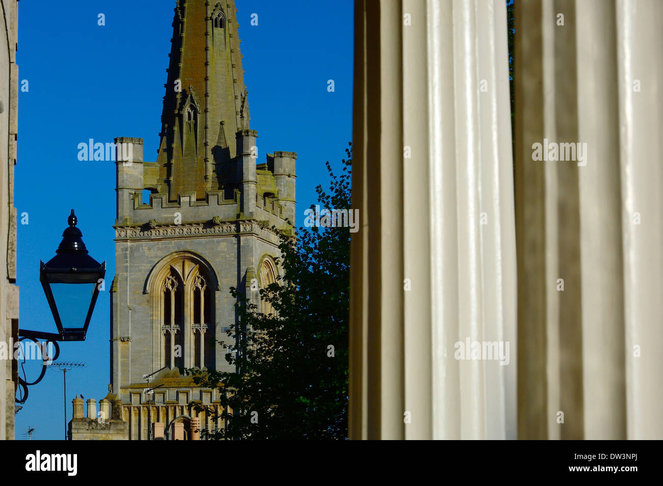 The church of All Saints viewed from Barn Hill. Stamford. England's finest Georgian stone town. Lincolnshire. England. UK - Stock Image