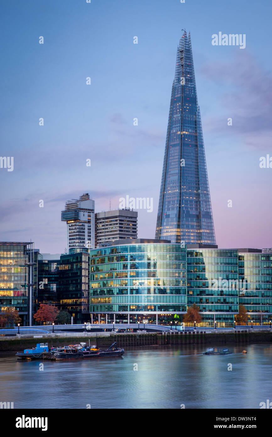 Early morning over The Shard, City Hall and the buildings of More London Development along the South Bank, London England, UK - Stock Image