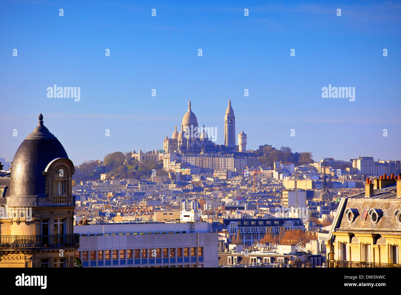 Distant View to Montmartre And Sacre Coeur, Paris, France, Western Europe. Stock Photo