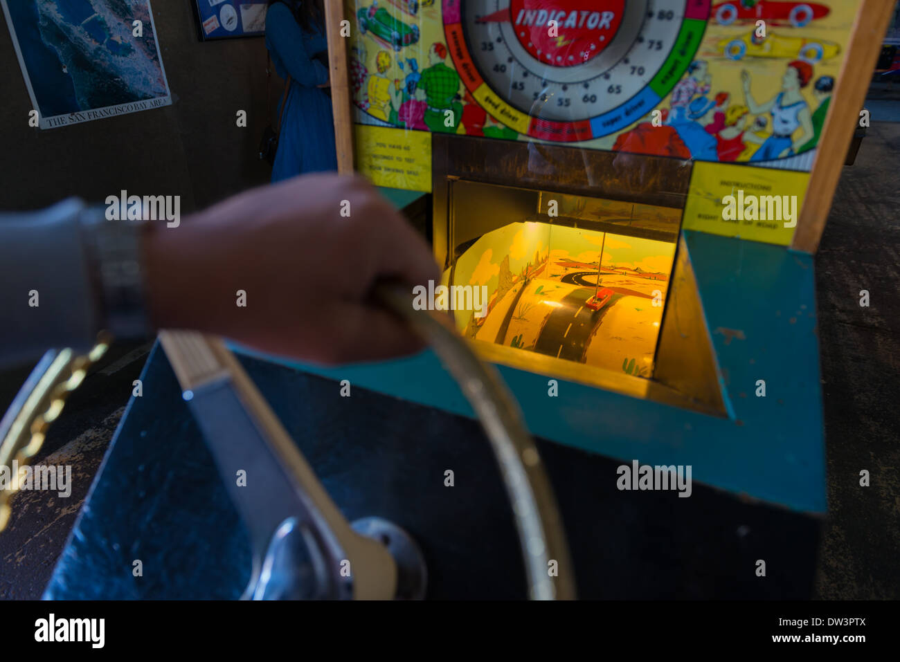 Coin-operated arcade machine in Musee Mecanique in Fisherman's Wharf, San Francisco - Stock Image