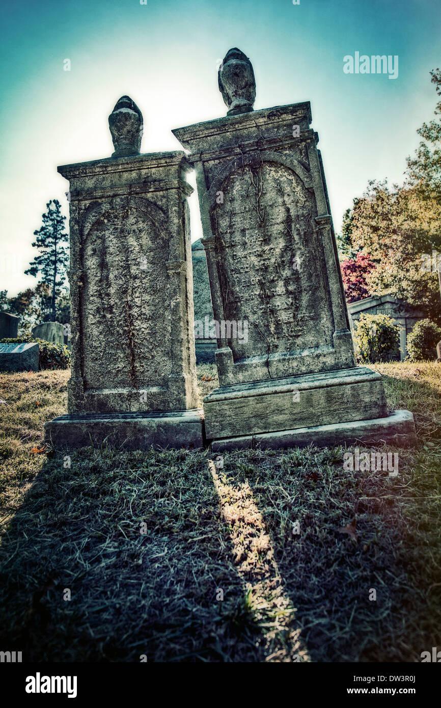tombstones in Machpelah Cemetery Queens New York - Stock Image