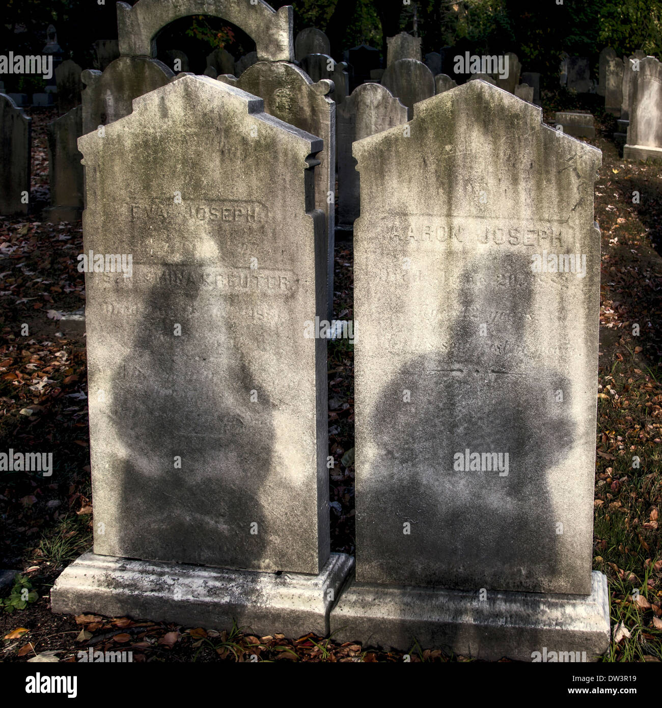 Tombstones in Machpelah Cemetery in Queens New York with shadows - Stock Image