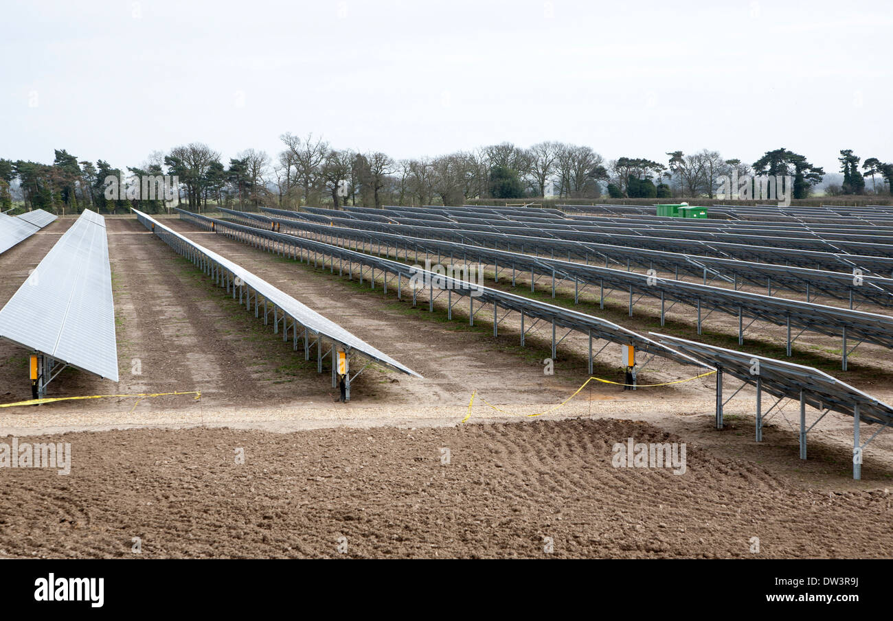 Solar array of photovoltaic panels in a large new solar park at Bucklesham, Suffolk, England - Stock Image
