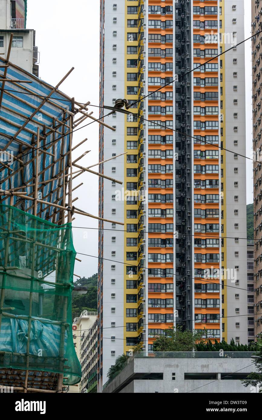 Bamboo Scaffolding and Apartments, Hong Kong - Stock Image