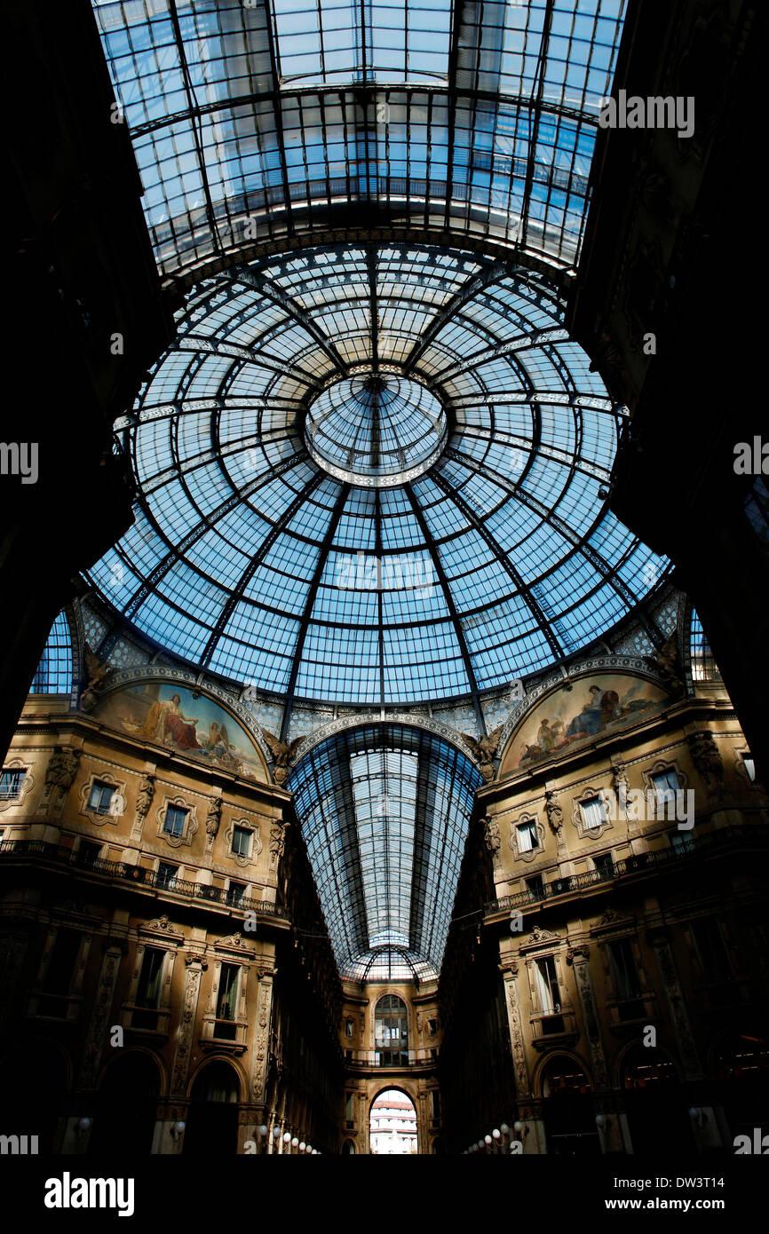 Glassed roof of Galleria Vittorio Emanuele in Milan - Stock Image