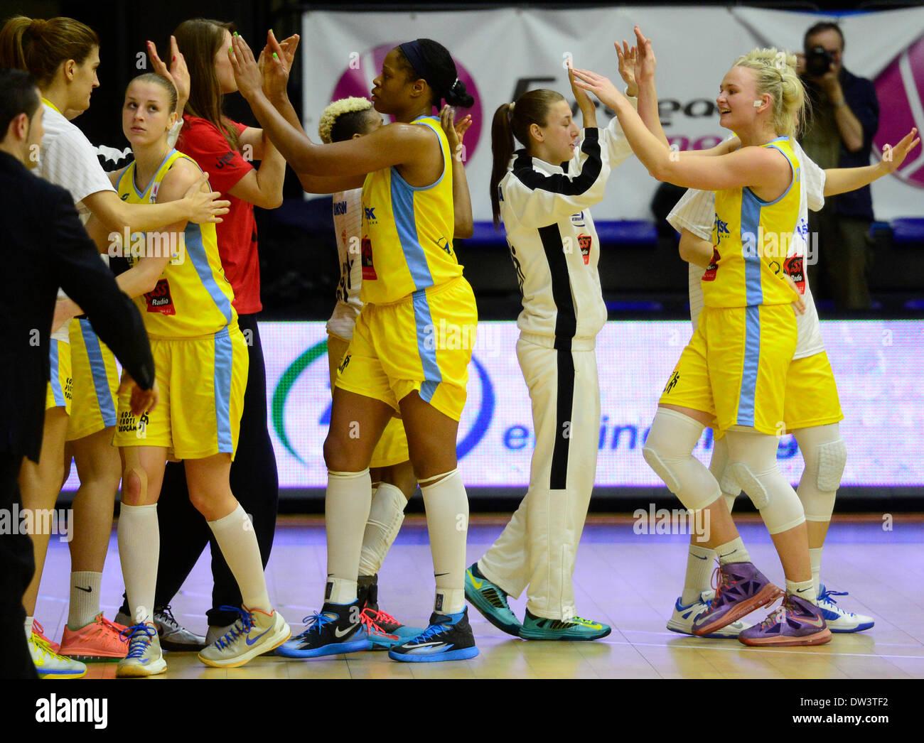 140d8033d53 Players of USK Praha celebrate after winning the women´s basketball  European League C group