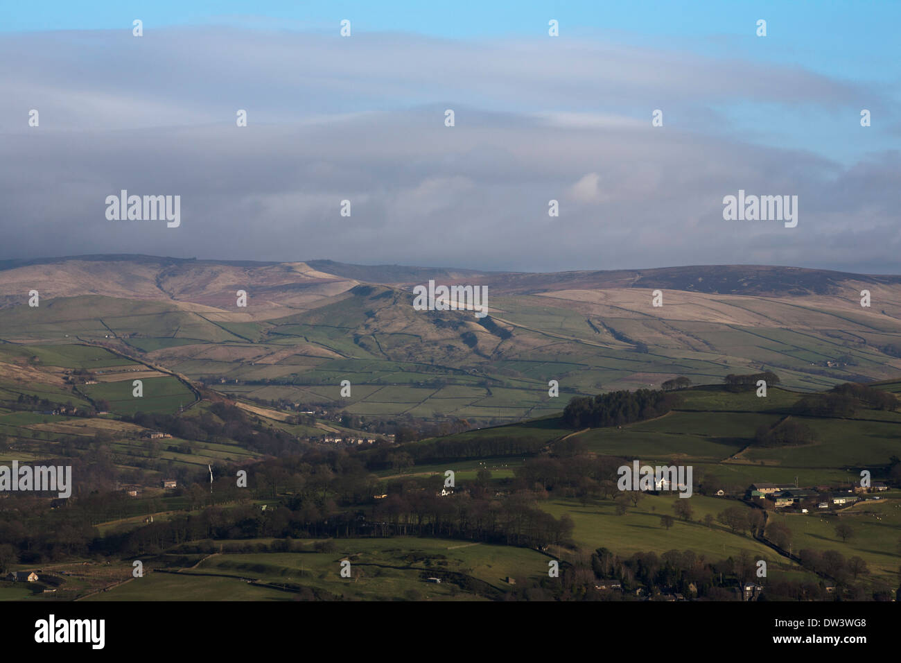 Chinley Churn Cracken Edge and South Head with Kinder Scout in the background from Taxal Edge above Whaley Bridge Derbyshire - Stock Image
