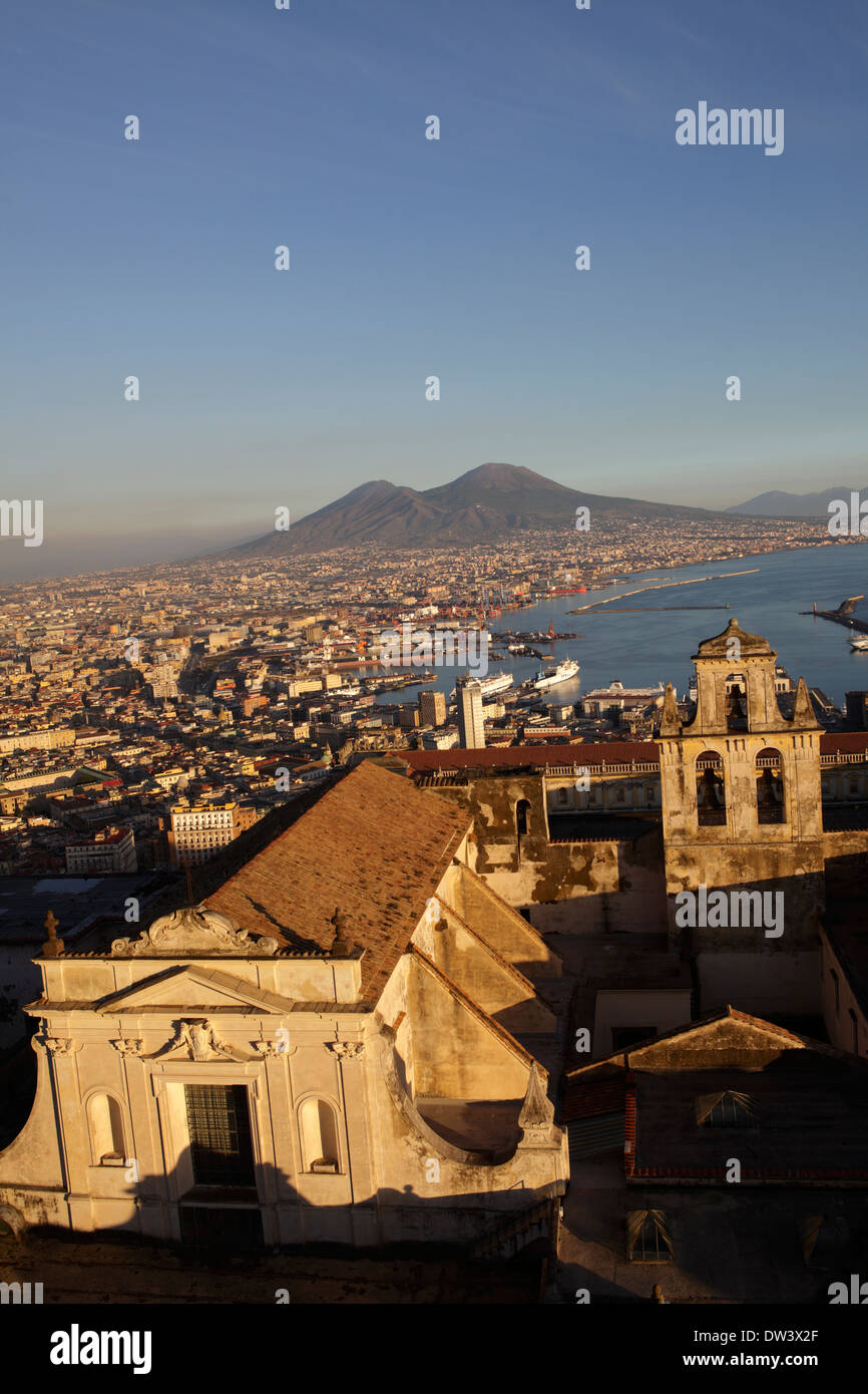 View of the Gulf of Naples and Mount Vesuvius in the distance, Naples, Italy - Stock Image