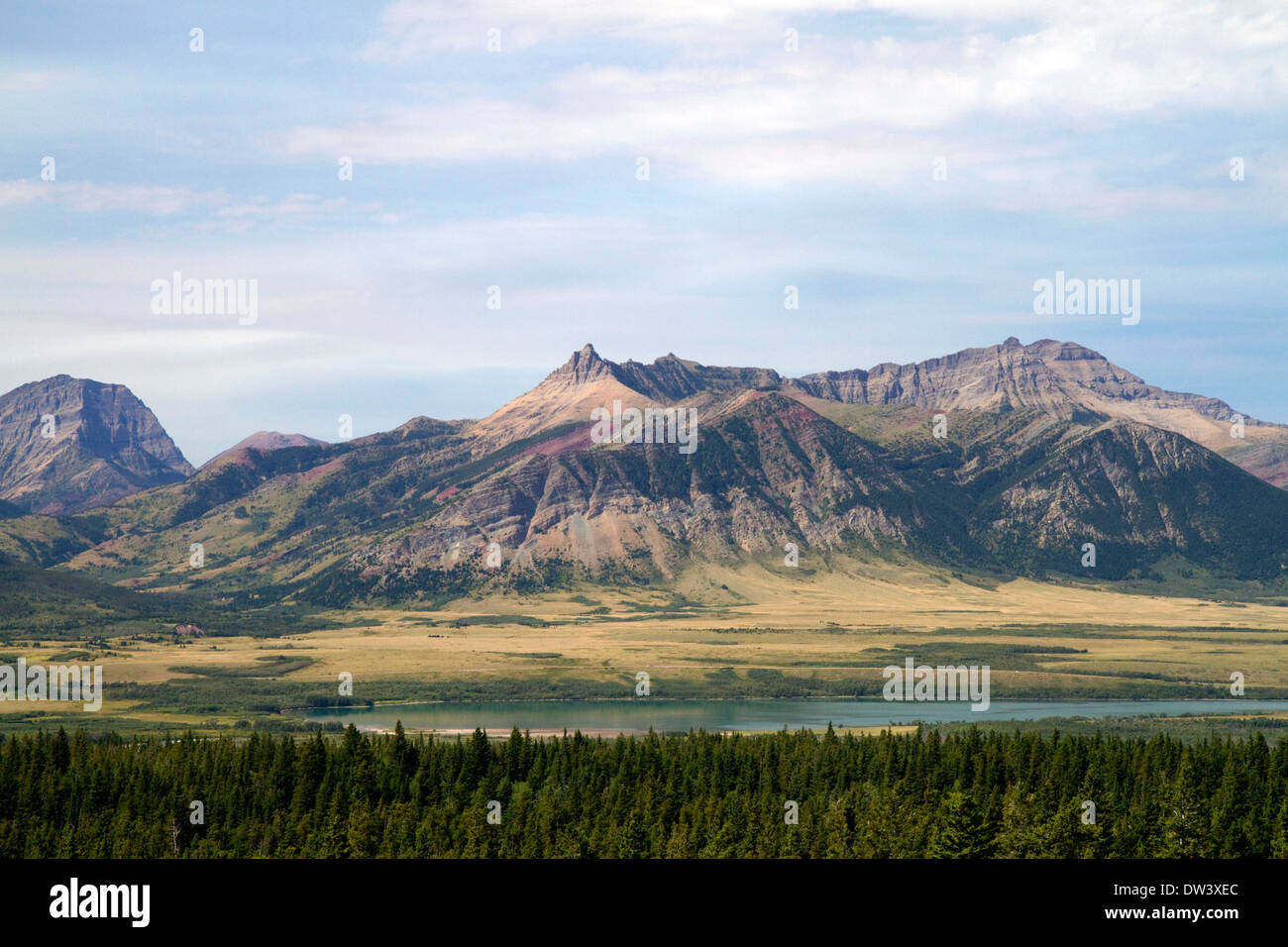 Scenic view of the Canadian Rockies in Waterton Lakes National Park, Alberta, Canada. - Stock Image