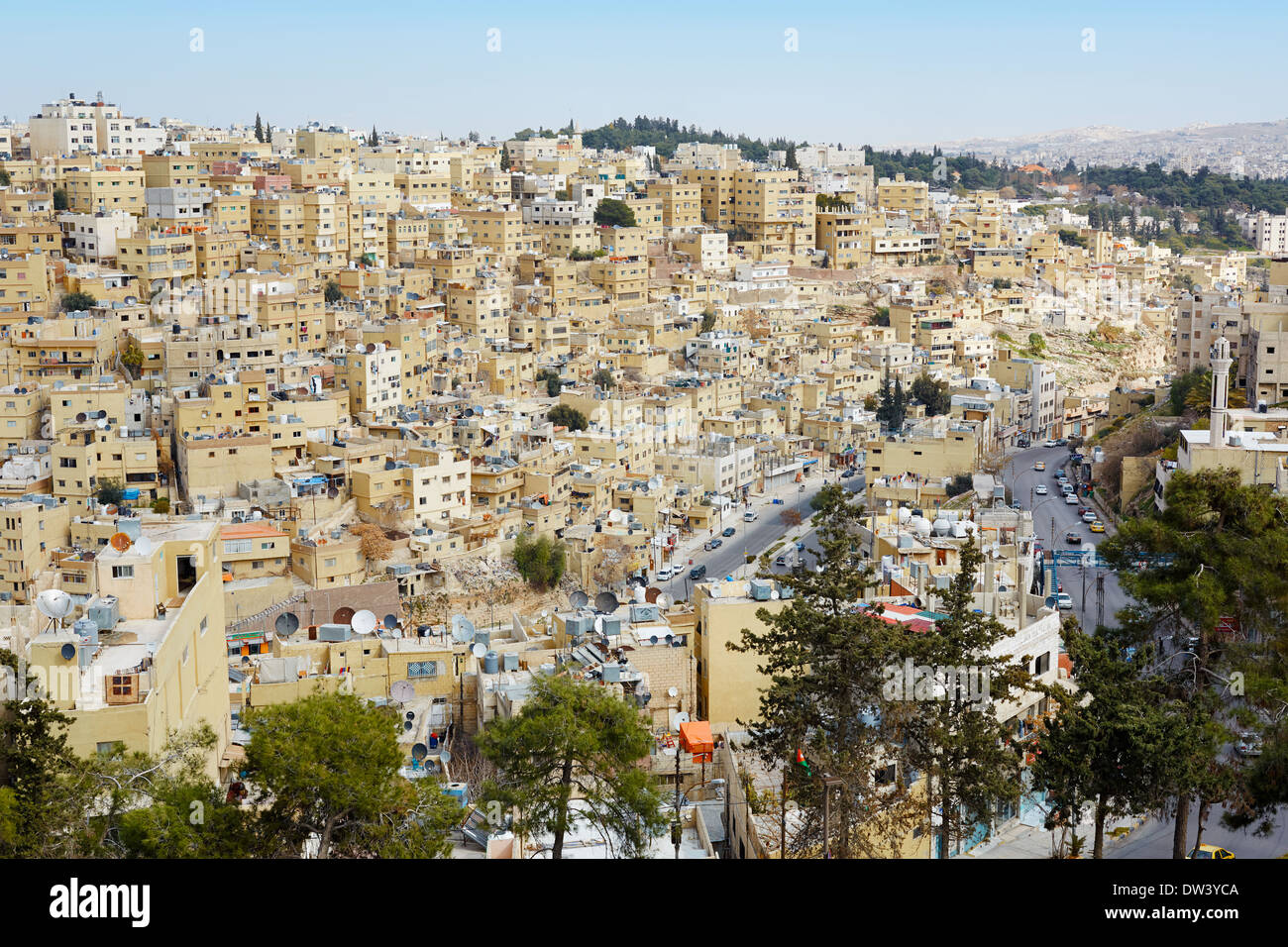 Amman city view of buildings and houses - Stock Image