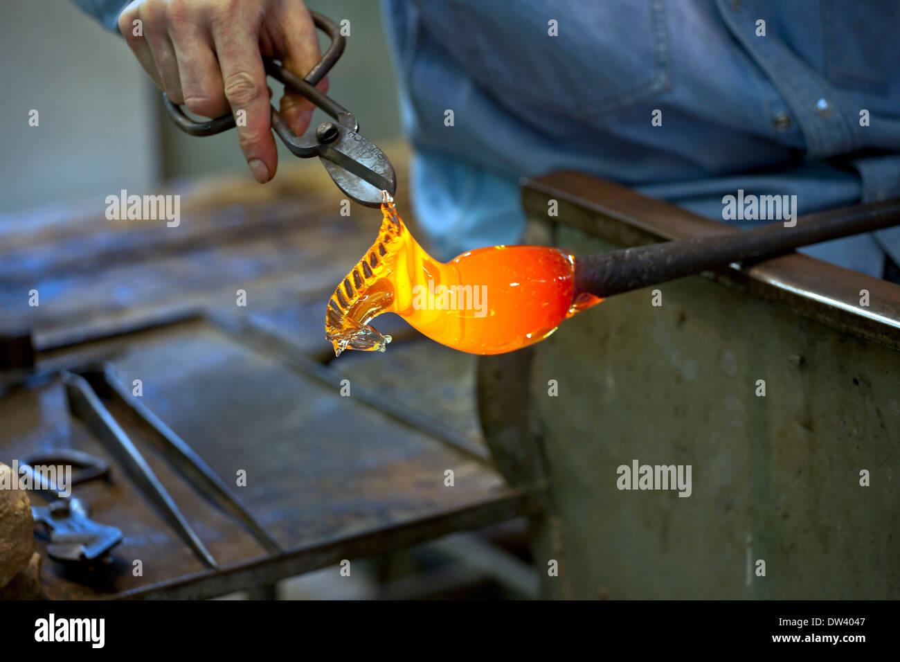 Glass blower, Murano - Stock Image