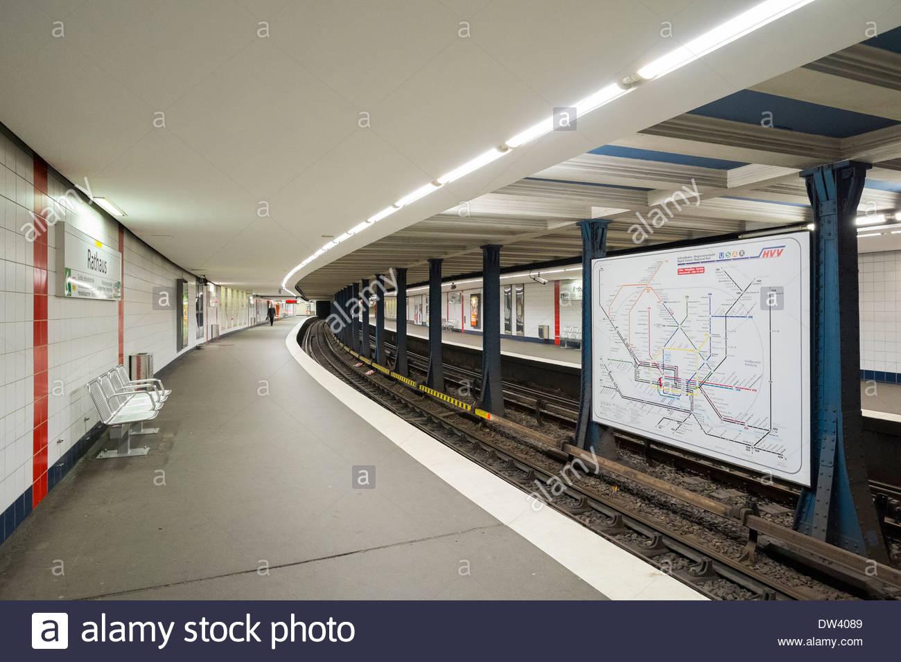 Hamburg U-Bahn (metro) station at Rathaus station, Hamburg, Germany, Europe Stock Photo