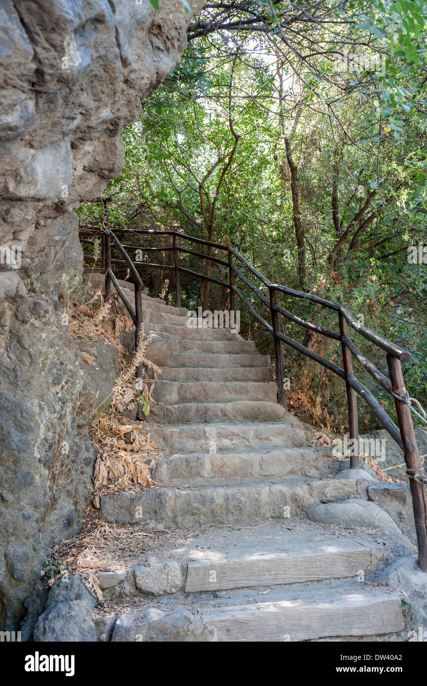 Stone Stairs in the Geologic Park of the Alcantara Gorge in Alcantara Valley, Sicily, Italy - Stock Image