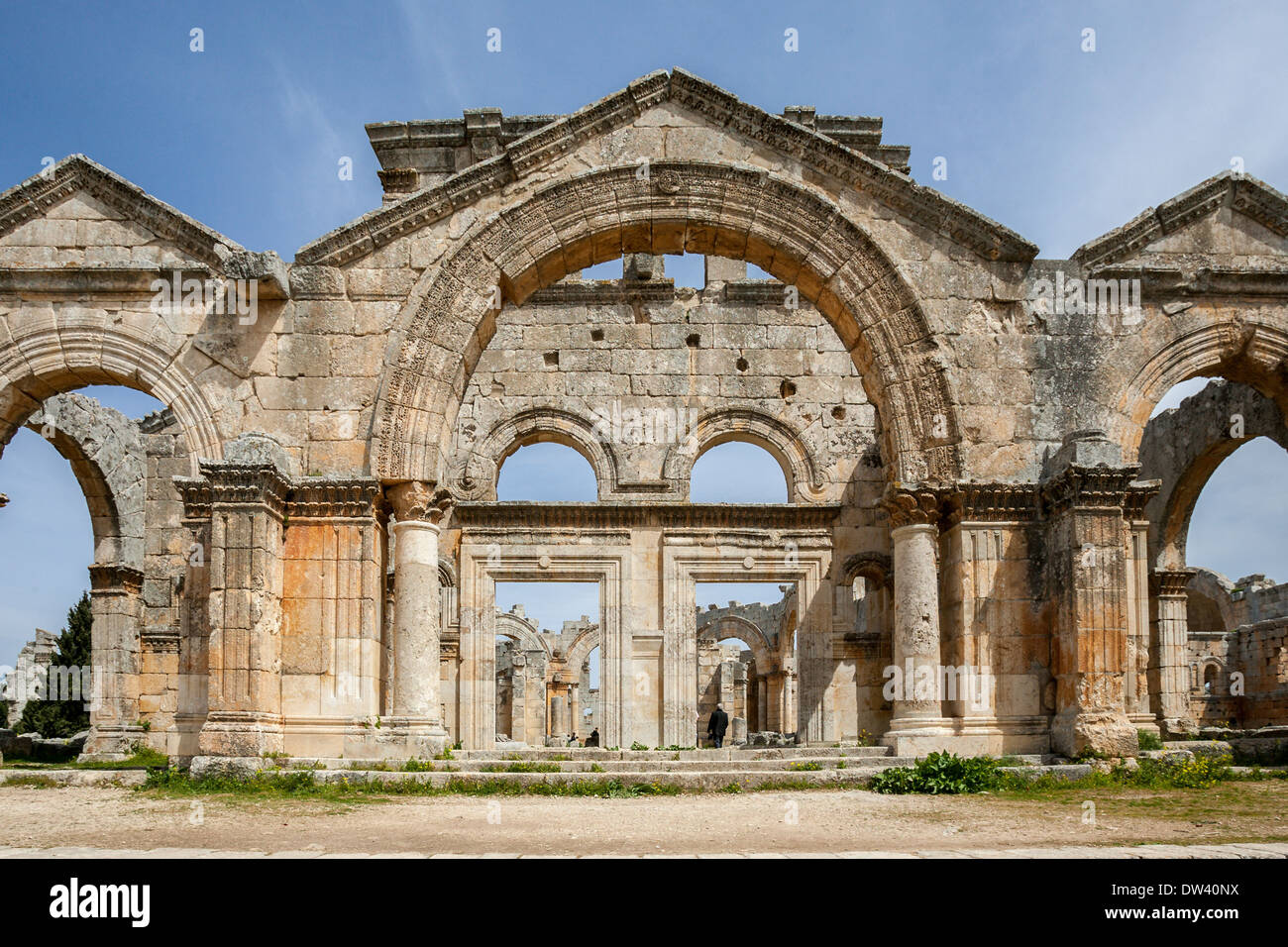 The Byzantine Church of Saint Simeon Stylites is a historical ruin located about 30 km  northwest of Aleppo, Syria. - Stock Image