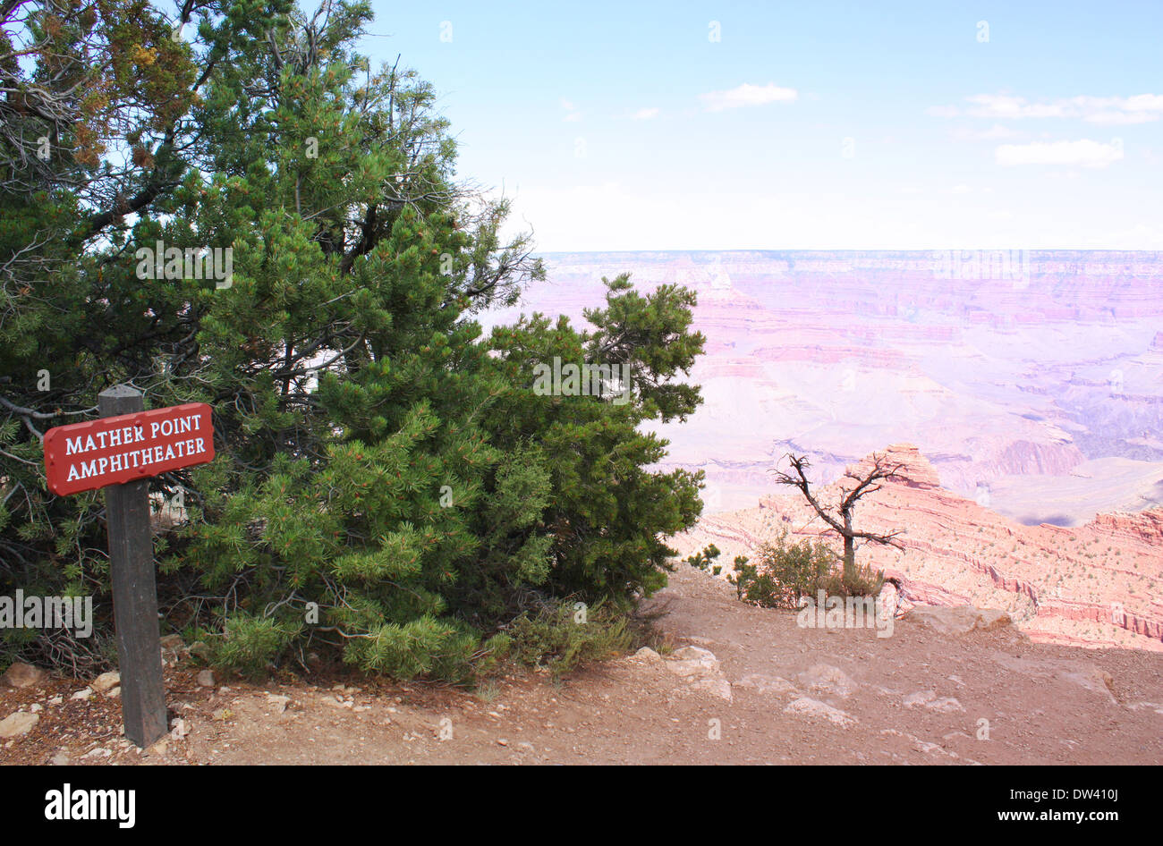 Mather point sign board in Grand Canyon, USA Stock Photo