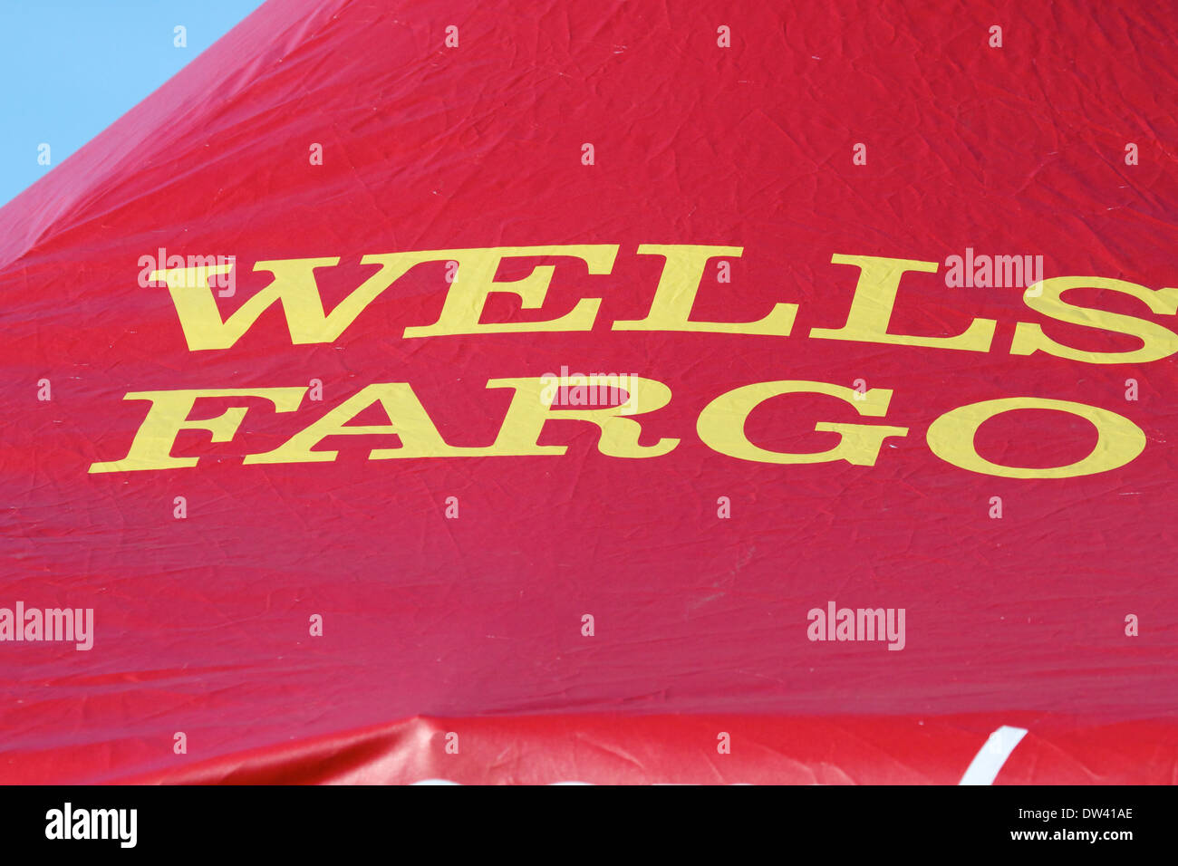 Wells Fargo bank sign on a canopy at an outdoor event