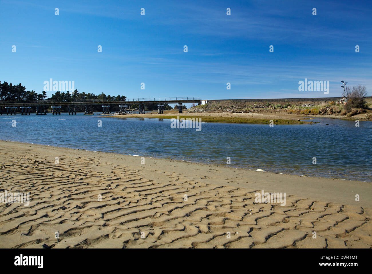 Waikouaiti River, Karitane, and main trunk rail line, Dunedin, Otago, South Island, New Zealand - Stock Image