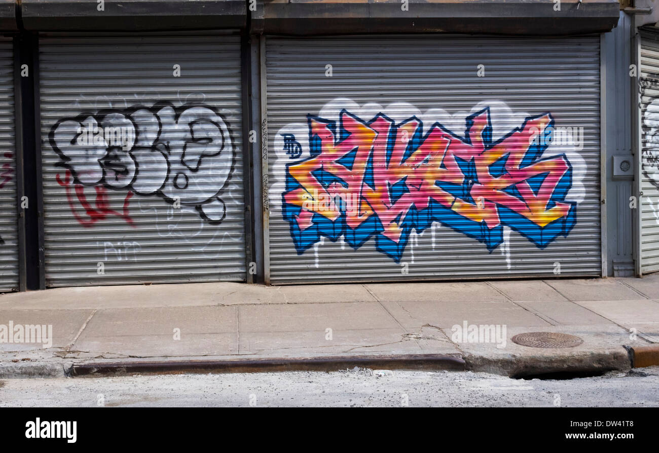 Graffiti On New York Store Fronts In Downtown New York City