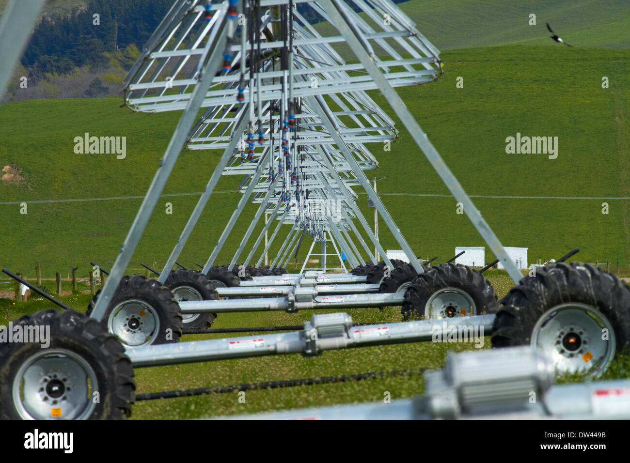 Centre pivot irrigation, near Culverden, North Canterbury, South Island, New Zealand - Stock Image
