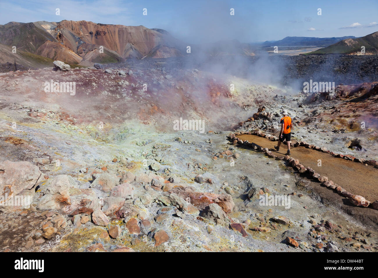 Hiker on the Laugavegur Hiking Trail Examining an Active Geothermal Area on the Slopes of the Brennisteinsalda Volcano Iceland - Stock Image