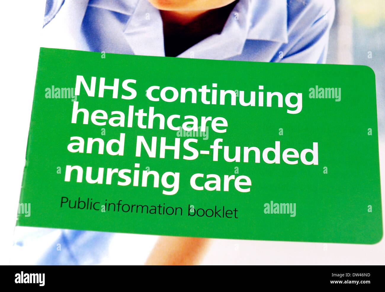 NHS continuing healthcare and NHS funded nursing care public information booklet - Stock Image