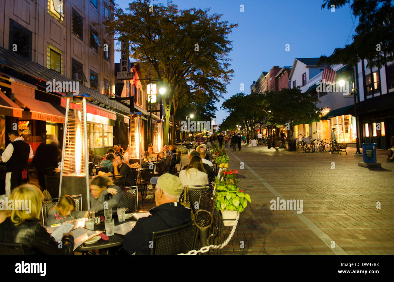 Burlington Vermont Church Street Downtown With Restaurants And Stock