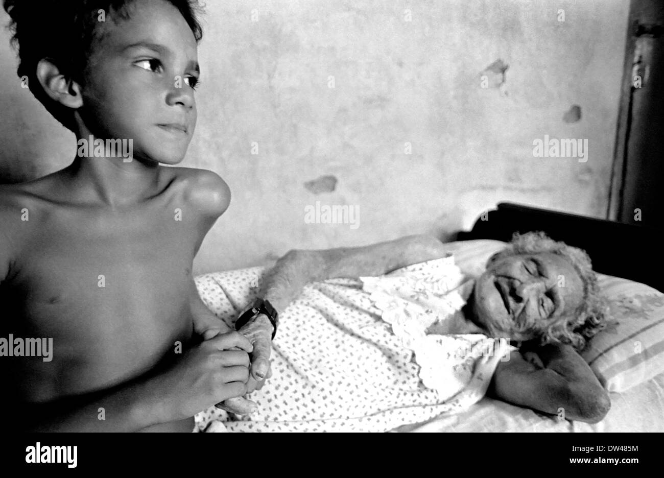 Junio's mother used to come secretly to see Isabel, first resident in Antonio Diogo's colony (Ceará), because leprosy patients - Stock Image