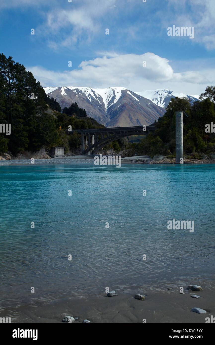Rakaia River, and Mount Hutt, Canterbury, South Island, New Zealand Stock Photo