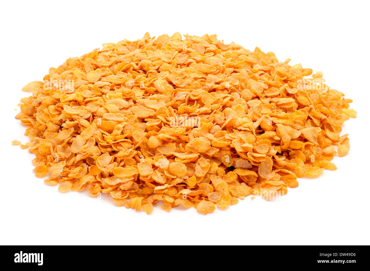 a pile of corn flakes on a white background - Stock Image