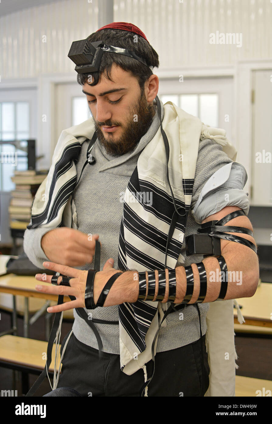 Religious Jewish young man putting on phylacteries - teffilin - at morning services at the Ohel in Cambria Heights, Queens, NY - Stock Image