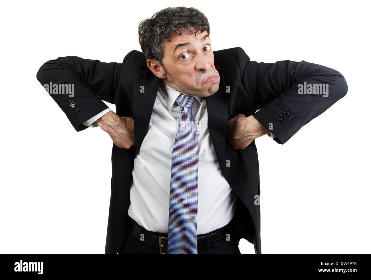 Weird businessman doing the monkey business moves - Stock Image