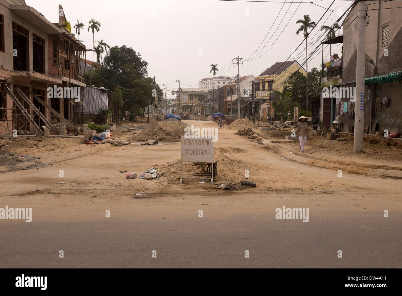Construction Work in Hoi An City - Stock Image