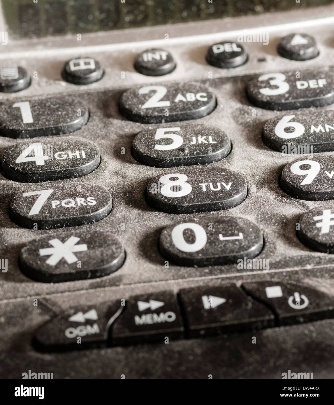 Close up of dusty telephone key pad, evenly lit. Stock Photo