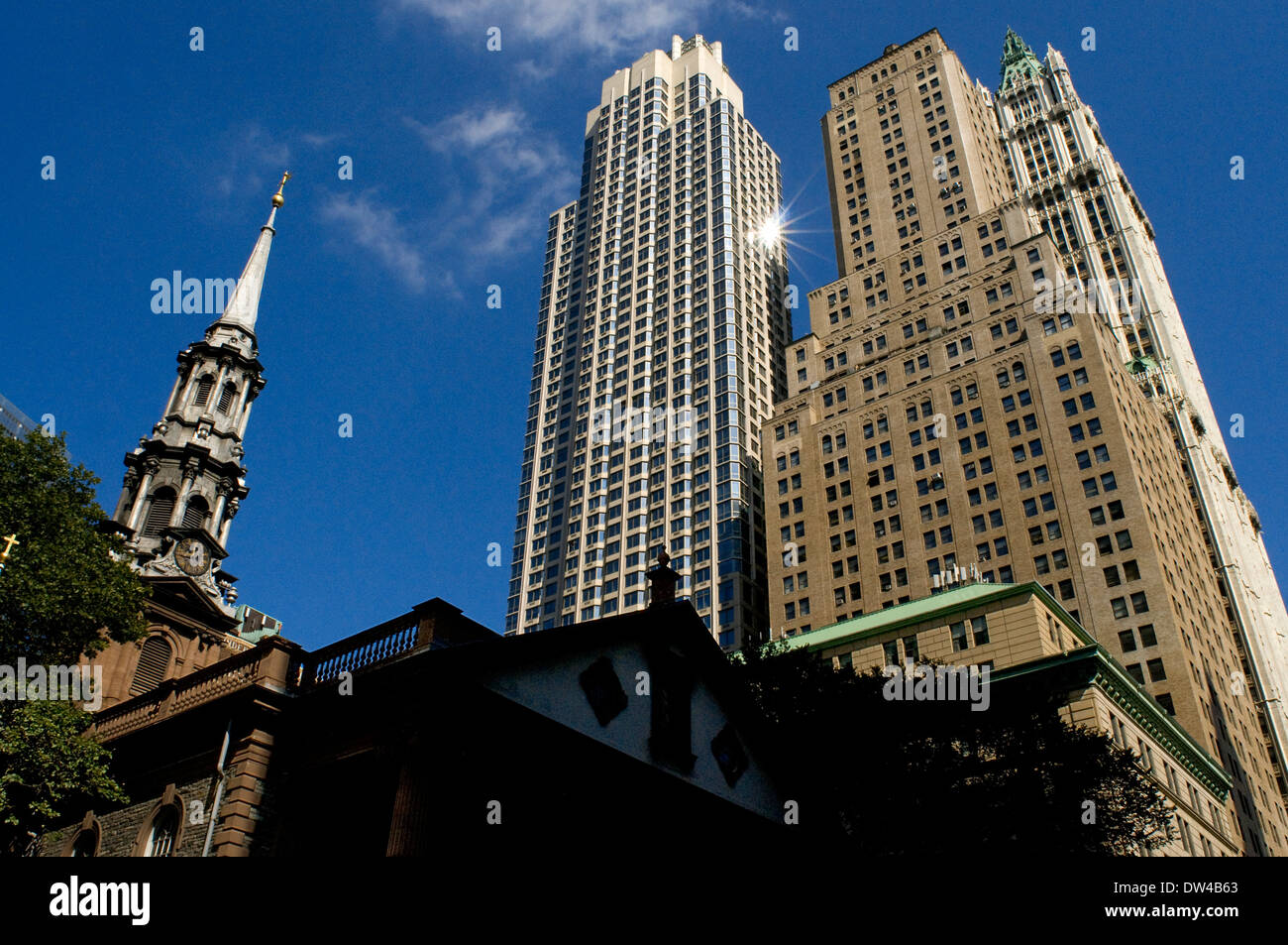 Saint Paul's Chapel Financial District New York City lower Manhattan. Chapel of St. Paul's Chapel surrounded by towering skyscra - Stock Image