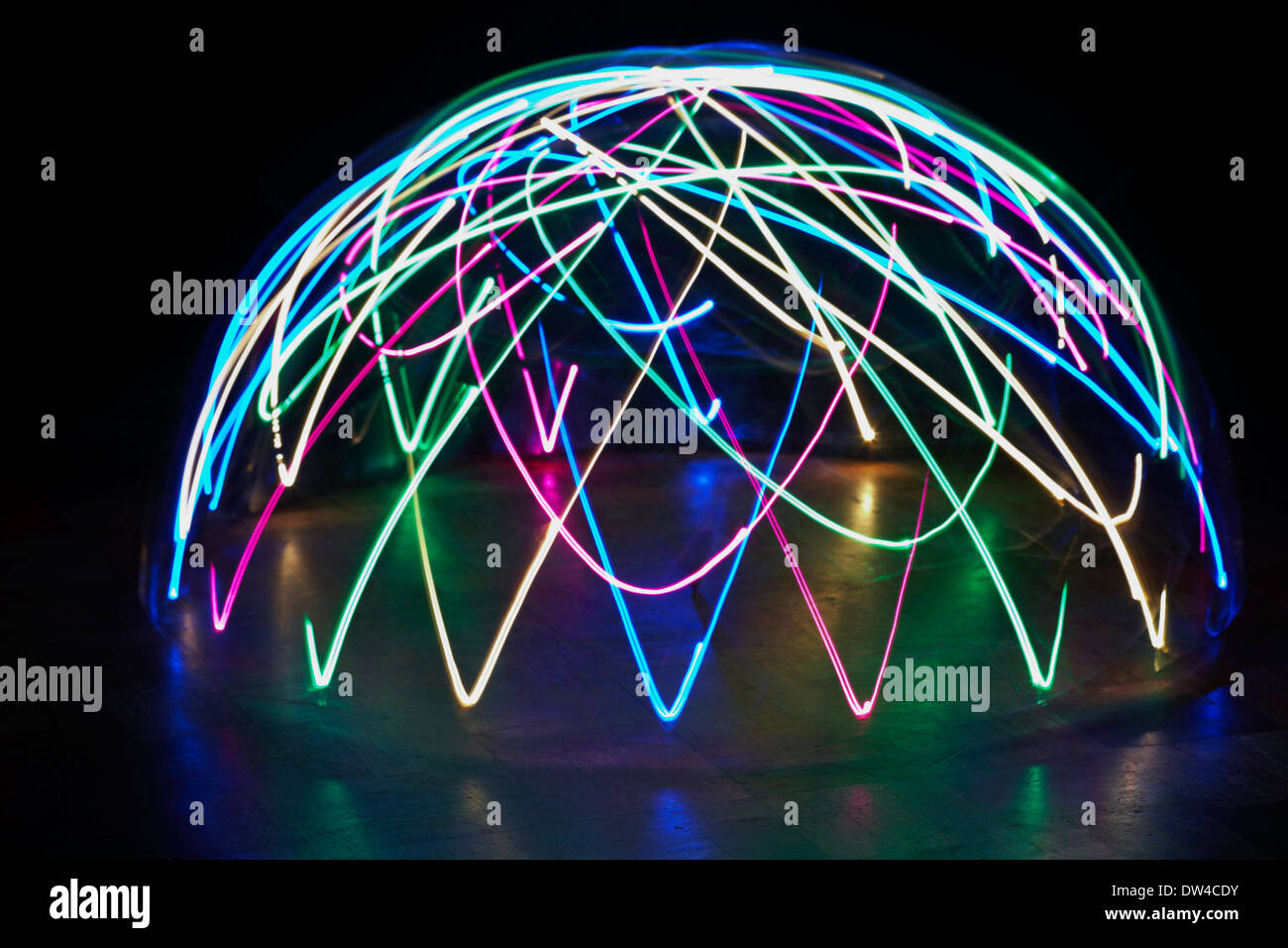 light patterns multi-coloured light dome - abstract painting with light, light painting Stock Photo