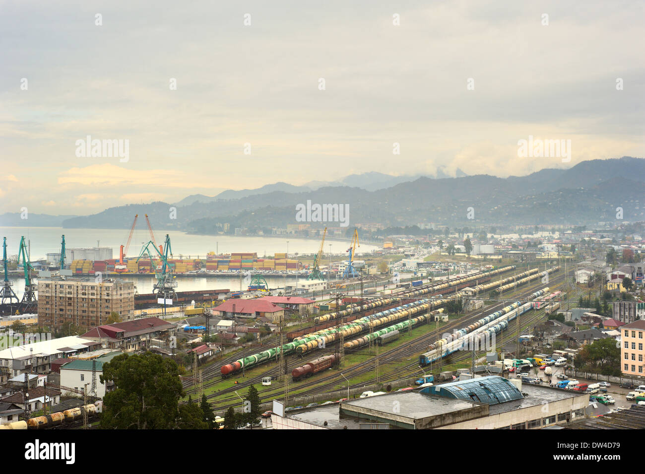Panoramic view of Batumi port and railway station in Georgia - Stock Image