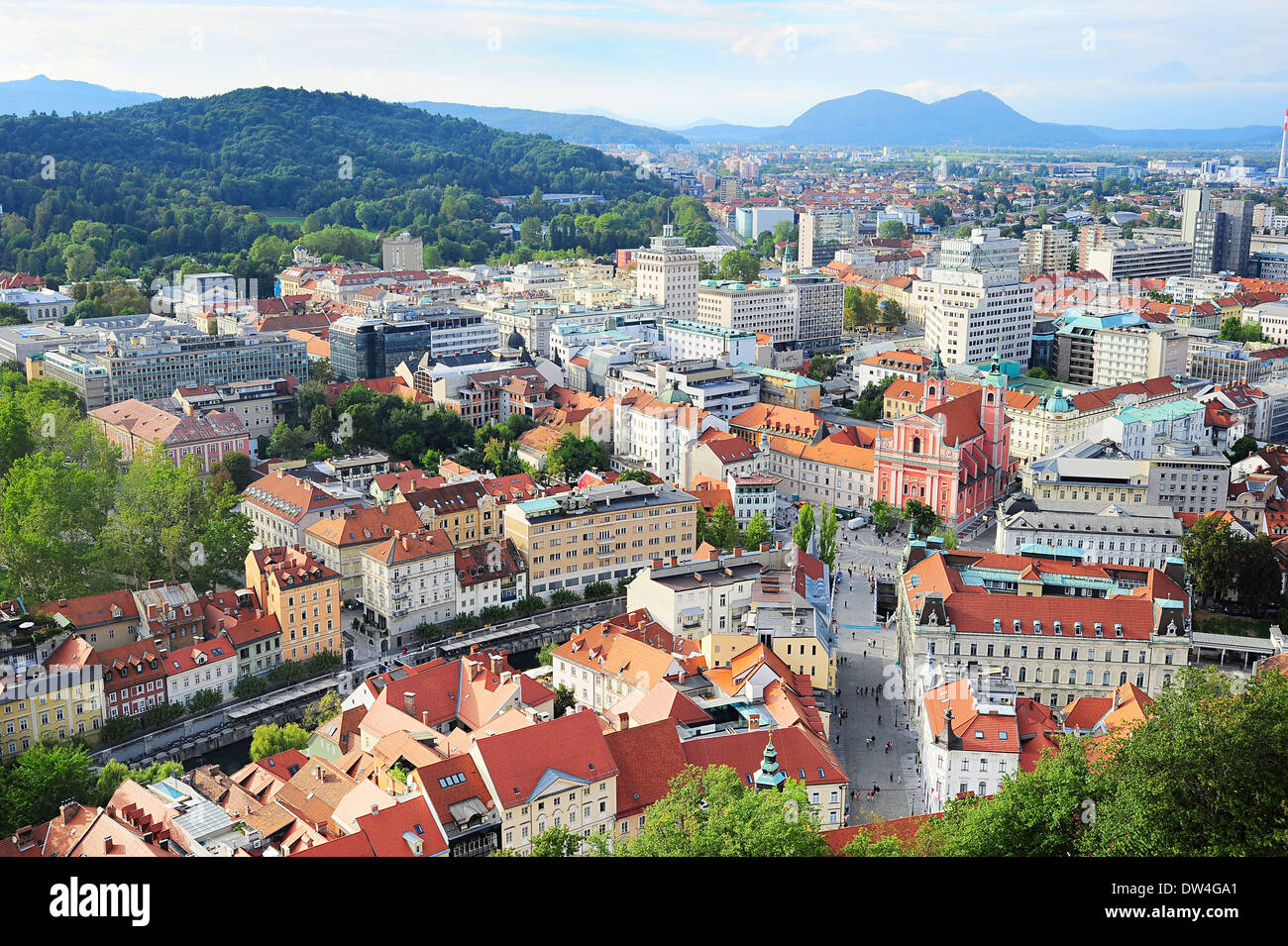 View from above on Ljubljana old town at sunset, Slovenia Stock Photo