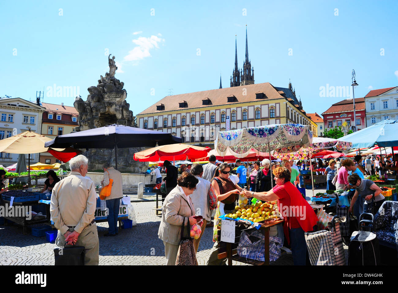 Locals buying vegetables at street food Market in Brno . Brno is the second largest city in the Czech Republic. - Stock Image