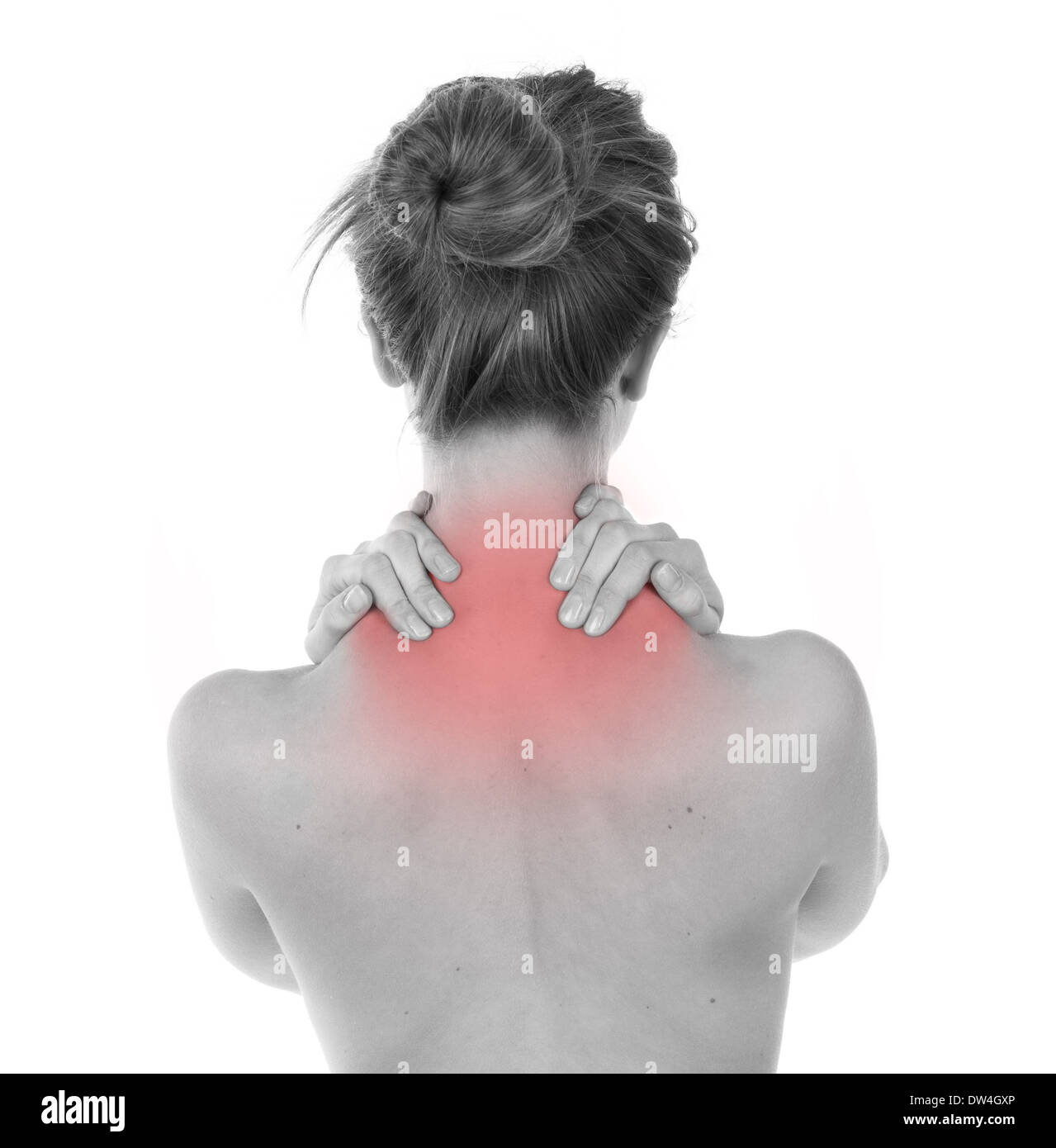 Woman having nape and trapezius ache, isolated on white - Stock Image