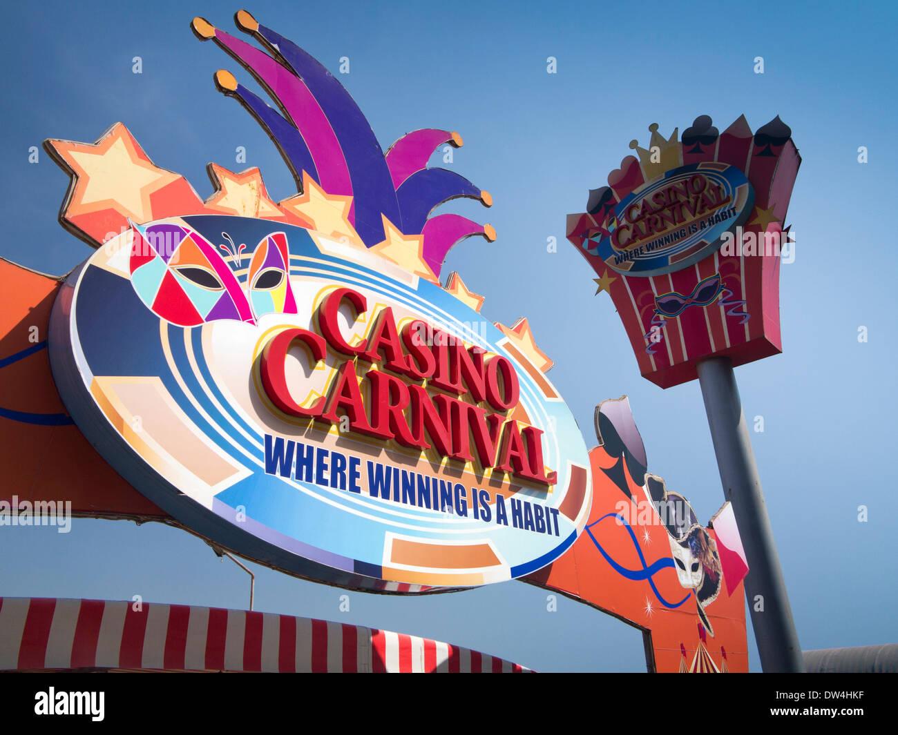 India, Goa, Panjim, gambling, Avenida Don Jao de Castro, colourful sign of Casino Carnival - Stock Image