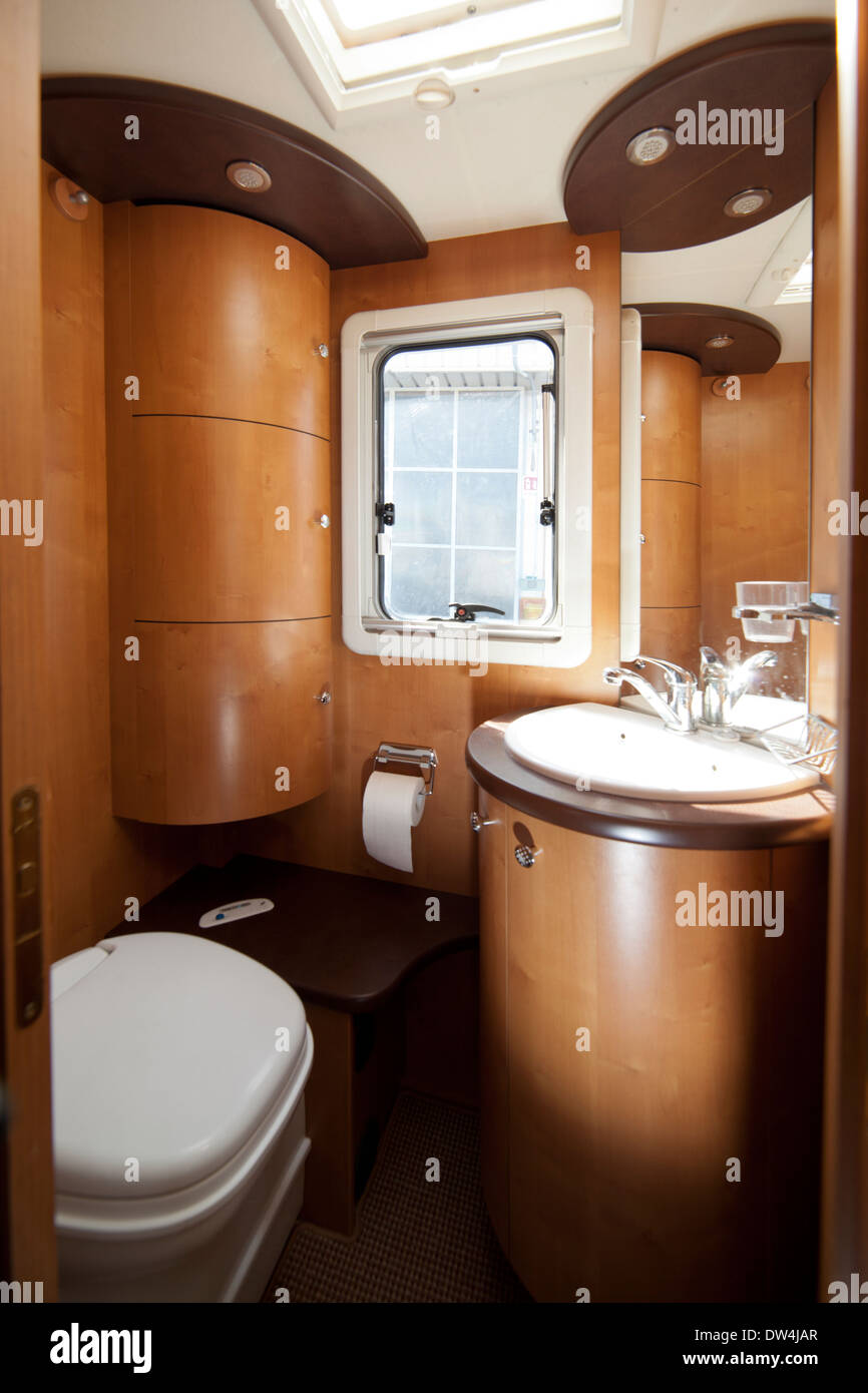 Camper Van Bathroom With Sing Wc And Cabinets