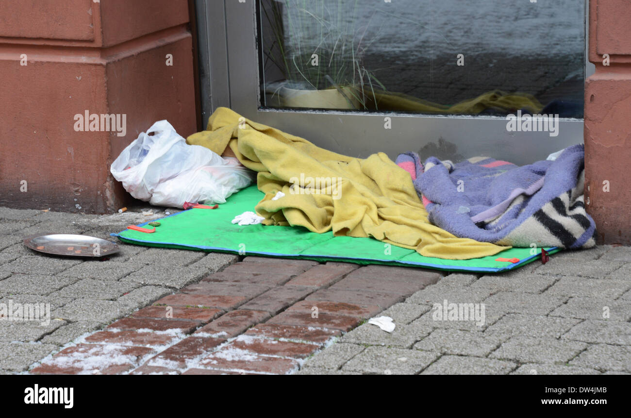 Sleepinplace of a homeless man on Jan., 1, 2013, in Freiburg, southern Germany. - Stock Image