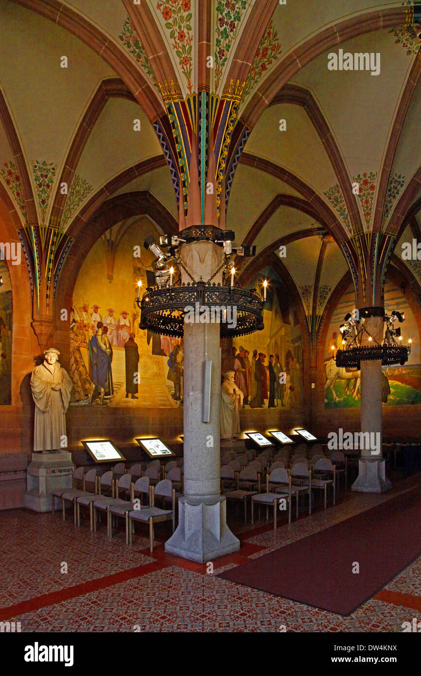 Melanchthon House, Memorial Hall, Bretten, Kraichgau, district of Karlsruhe, Baden-Wurttemberg, Baden-Württemberg, Germany, wall paintings created about 1930 by Professor August Groh (1871-1944), Reformation Statues of Johannes Bugenhagen and other, creat - Stock Image