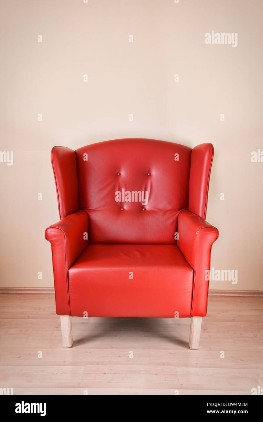 Red leather armchair - Stock Image