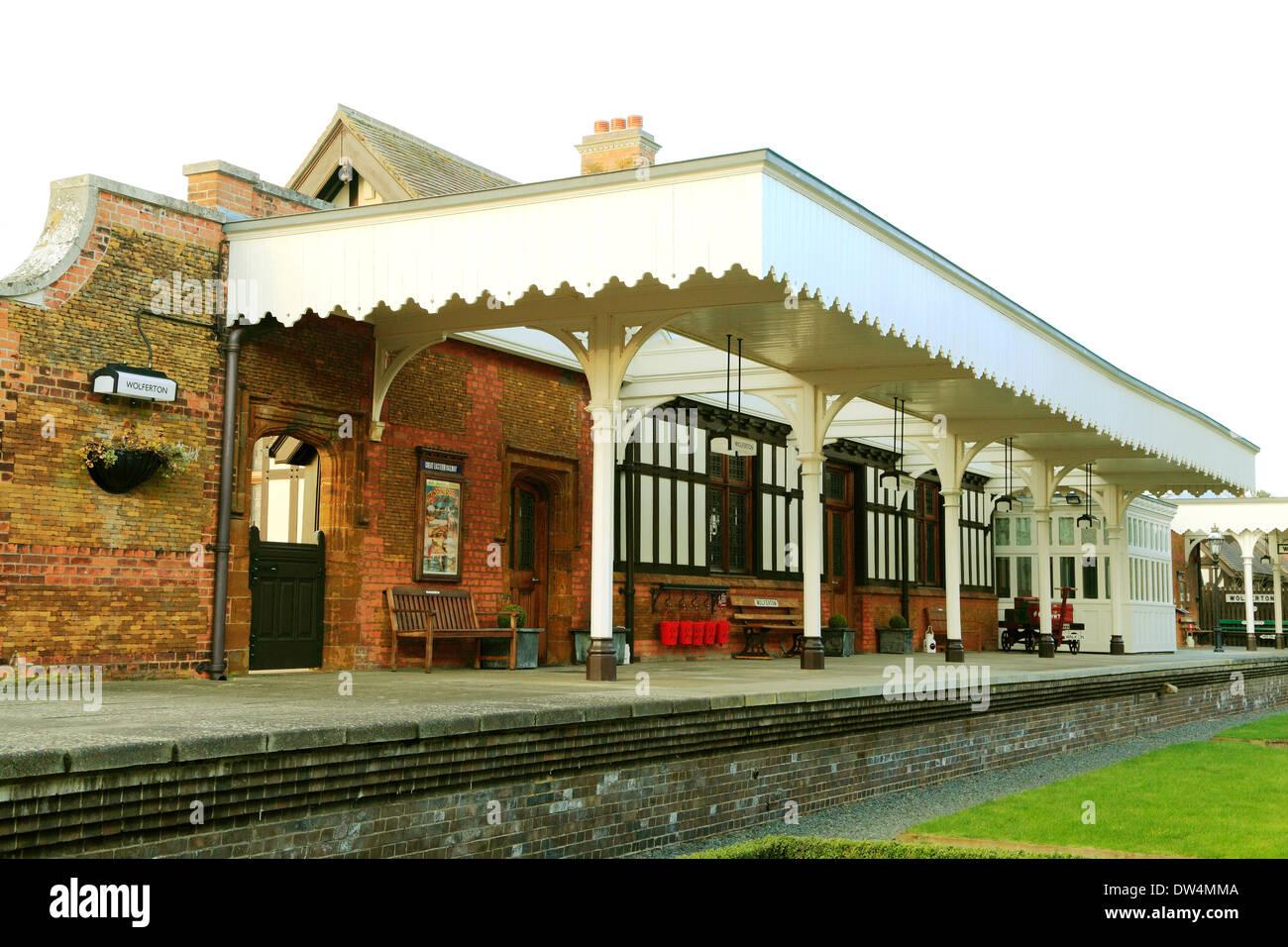 Wolferton Railway Station Platform, Norfolk, 19th century preserved stations England UK English - Stock Image
