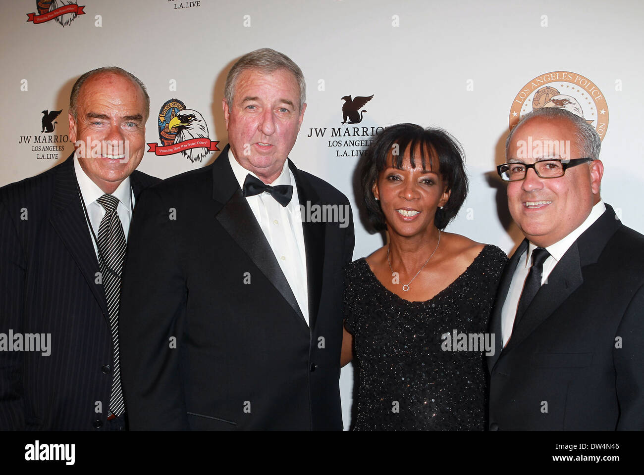 Arthur Cassell, LA County DA Steve Cooley, Jackie Lacey, Peter R. Repovich Los Angeles Police Protective League's 11th Anniversary Eagle & Badge Foundation Gala at the JW Marriott Los Angeles, California - 06.10.12 Where: Los Angeles, California, United S - Stock Image