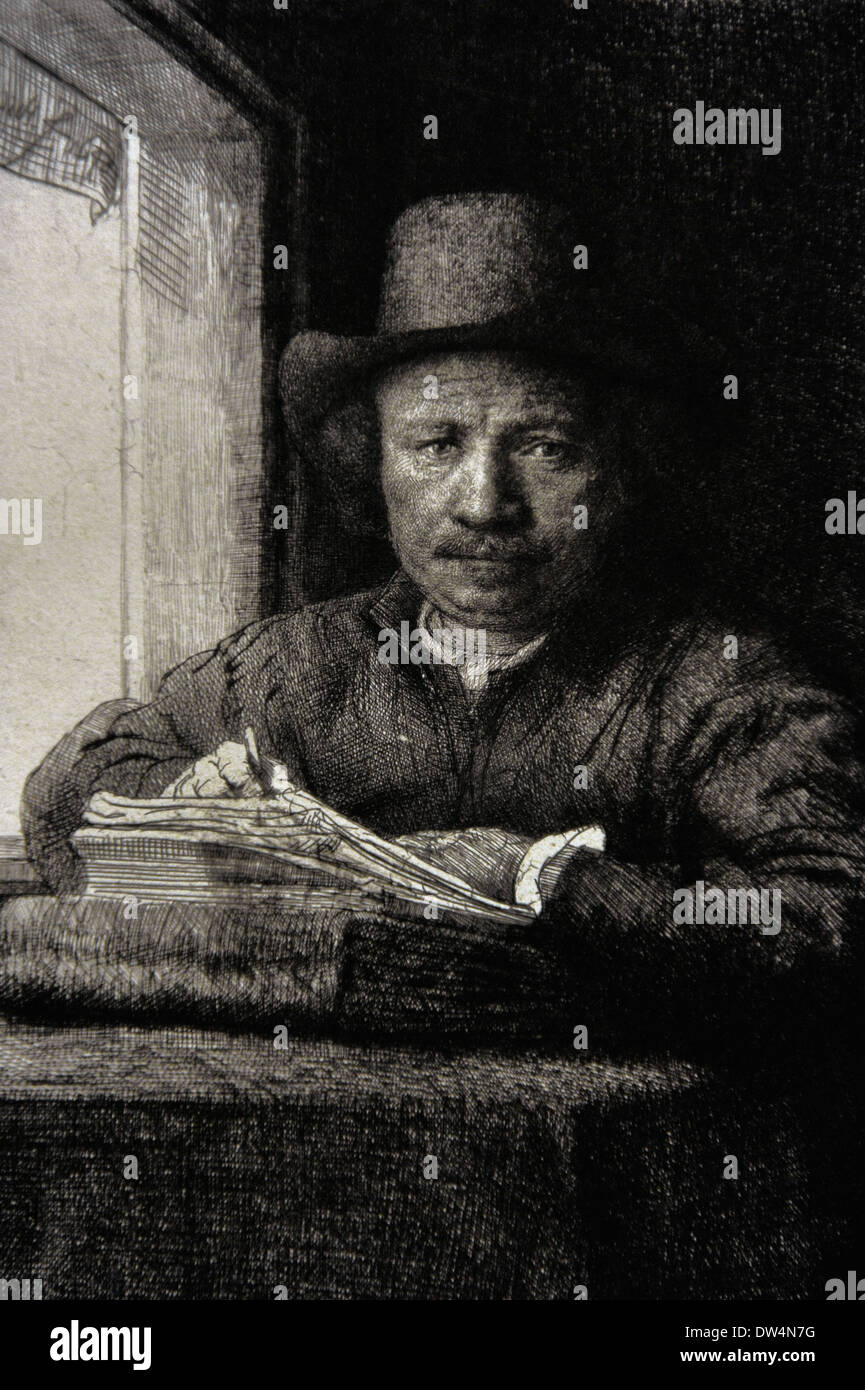 Rembrandt Harmenszoon Van Rijn: Etching By Rembrandt Stock Photos & Etching By Rembrandt